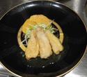 特別コースの一例:鶏肉の揚げ物フレッシュオレンジソース